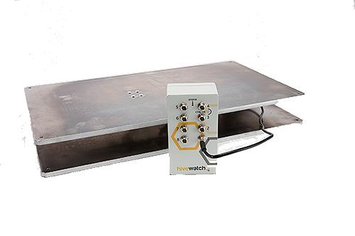 soporte y transmisor de la balanza digital para colmenas hivewatch